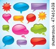Set of bright and colorful vector bubbles in various shapes - stock vector