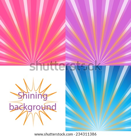 Set of  bright and shining backgrounds with sun rays on the background of the orange, pink, blue, purple dawn