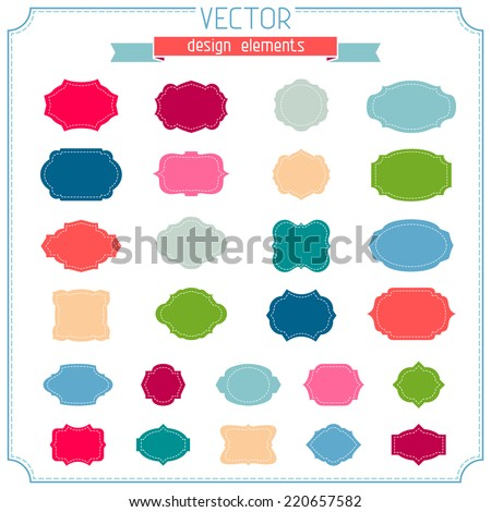 Set of bright  badges and labels isolated on white background. Vector design elements. There is place for your text. - stock vector