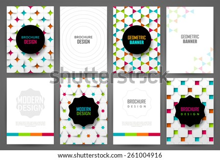 Set  of bright brochure templates. Backgrounds with geometric  pattern. - stock vector