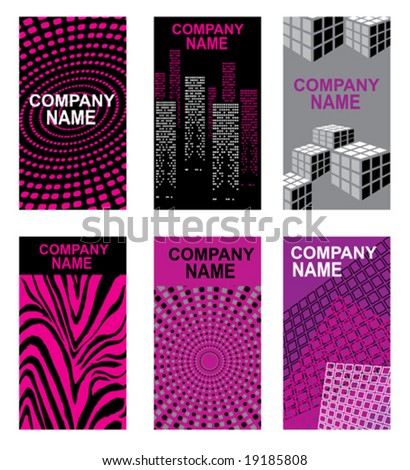 set of bright business cards - stock vector
