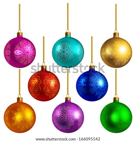 Set of bright colored photo-realistic Christmas balls, isolated on white - stock vector