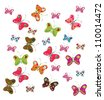 set of bright colorful butterflies, patchwork looked - stock vector