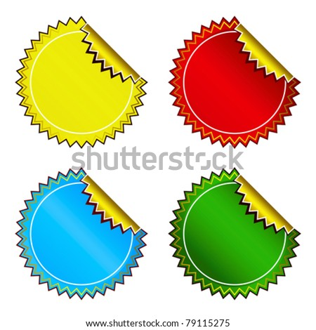 Set of bright colorful stickers - stock vector