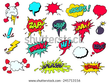 Set of bright cool and dynamic comic speech bubbles for different emotions and sound effects - stock vector