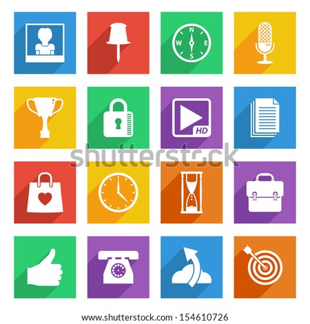 set of bright flat color icons with long shadows, isolated on white, set 4 - stock vector