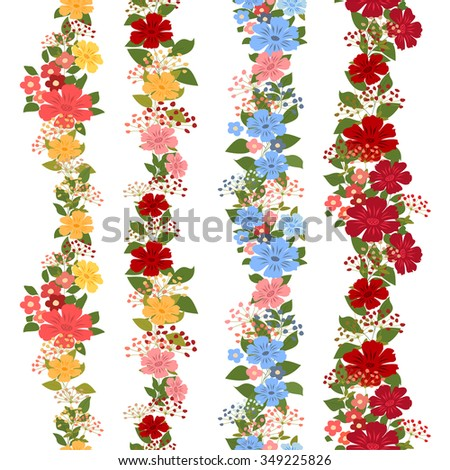 Set of bright floral seamless ornaments. Vector set of floral seamless ornaments on a white background. - stock vector