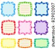 Set of 9 bright  frames with gingham pattern. Set 1 - stock vector