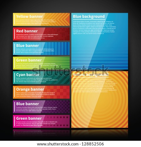 Set of bright glossy banners and two simple backgrounds. - stock vector