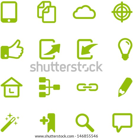 Set of bright green vector icons. Collection of icons can be used in web design, mobile applications, computer programs. File in EPS10 format, can be increased without loss of quality. - stock vector