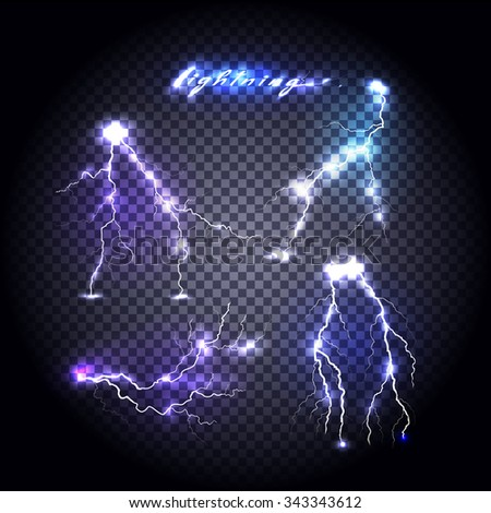 Set of bright lightning design. Light and lightning bolt, electricity and lightning storm, storm and thunder, bright flash, power energy, shock danger, thunderstorm abstract illustration - stock vector
