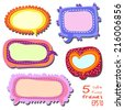 Set of 5 bright multicolored labels. Cute frames. Simple cartoon backgrounds. For notice, chat, page design, as comic bubble or tag. On white. Childish style. - stock vector