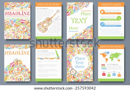 Set of bright ornament abstract flyer with infographic elements. Brochure background templates design concept. Vector decorative traditional, Islam, arabic, indian, ottoman motifs, elements. - stock vector