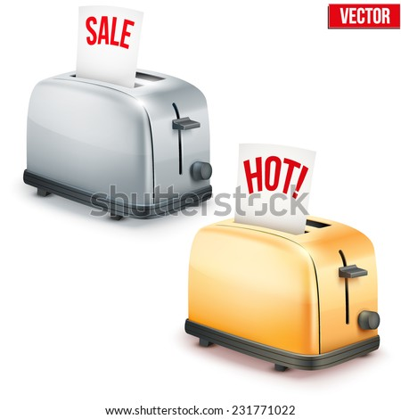 Set of Bright retro colorful Metal Glossy Toasters with message SALE and Hot. Vector illustration isolated on white background. - stock vector