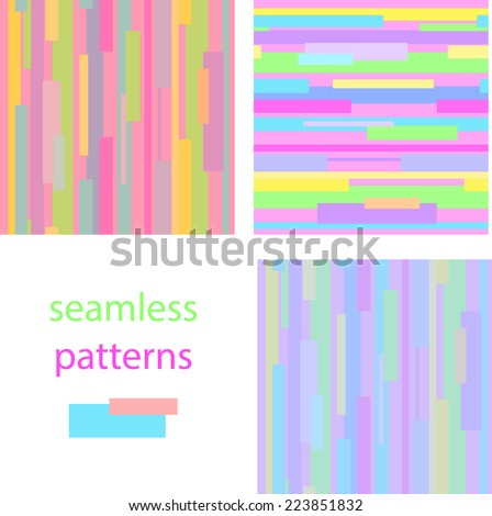 Set of bright seamless pattern with horizontal and vertical colorful stripes for girls - stock vector