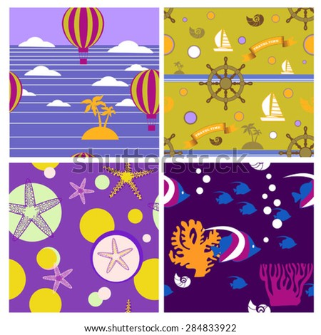 set of bright seamless vector nautical patterns  - stock vector