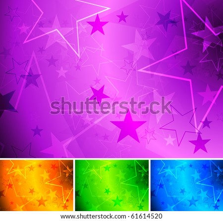 Set of bright star backgrounds - eps 10 - stock vector