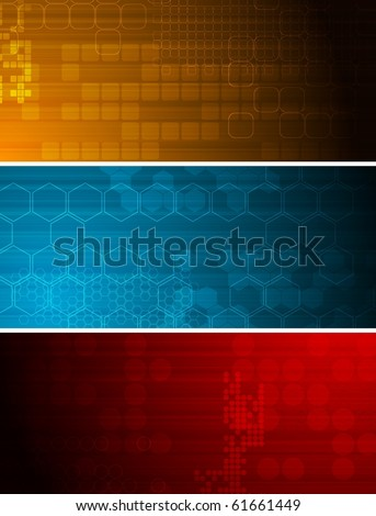 Set of bright technical banners with different elements - stock vector
