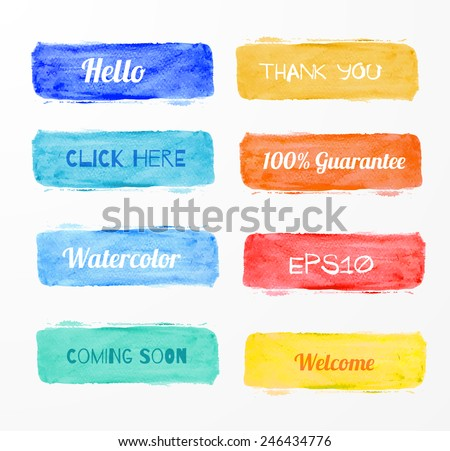 Set of bright watercolor banners for your design. Vector illustration.  - stock vector
