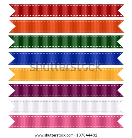 Set of Brightly Colored Grosgrain Ribbon Textures. Vector Illustration. Also see other color sets.