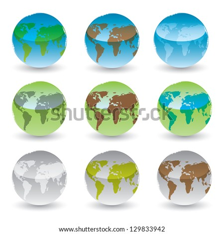 set of brilliant colored globes. vector eps10