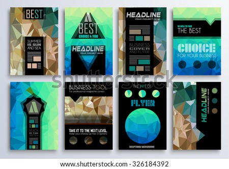 Set of Brochure, Flyers and layout templates for you projects. Ideal to use for brochures template, book cover, magazine fron page and generic printed material. - stock vector