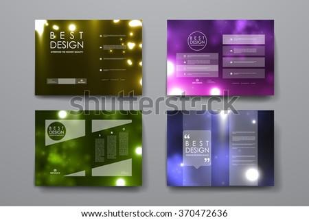 Set of brochure, poster design templates in neon molecule structure style - stock vector