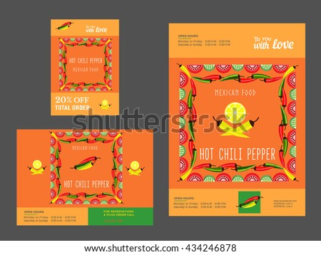 Set Brochure Templates Restaurant Mexican Food Stock Vector