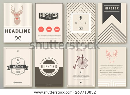 Set of brochures in hipster style. - stock vector