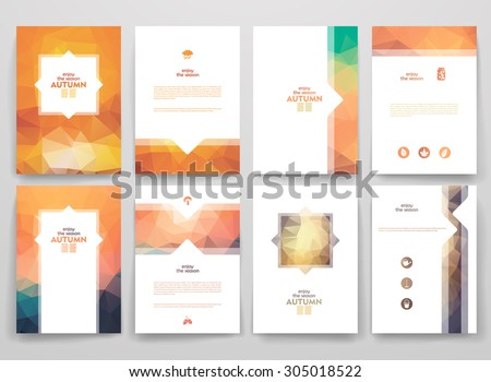 Set of brochures in poligonal style on Autumn theme. Beautiful frames and backgrounds. - stock vector