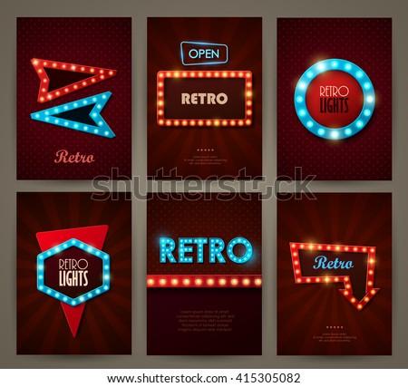 Set of brochures in retro style. Vector illustration. Retro light frames. - stock vector