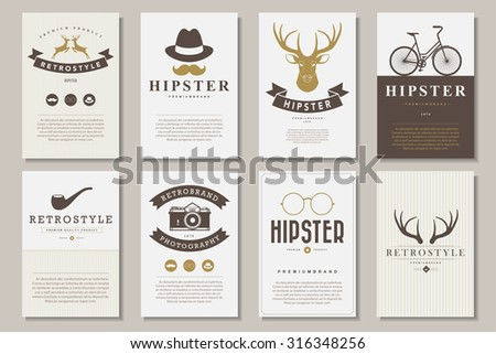 Set of brochures in vintage hipster style .Vector eps10