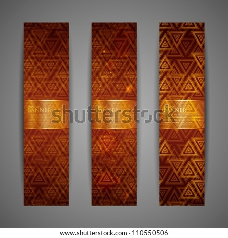 set of brown banners - stock vector