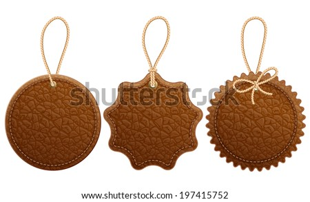 Set of brown leather label.  Isolated on white background. - stock vector
