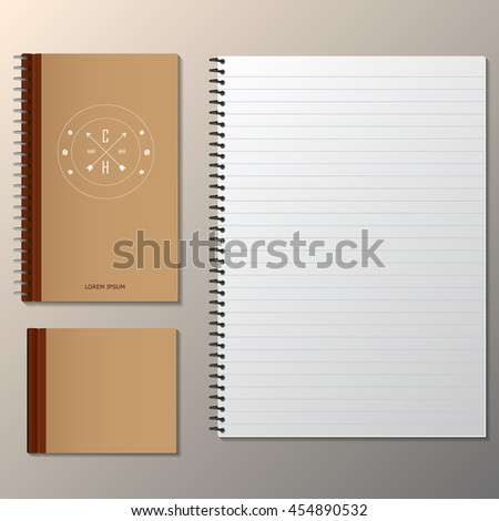 Set of Brown notebook and Keep the pencil, instant photo. Vector template for design work