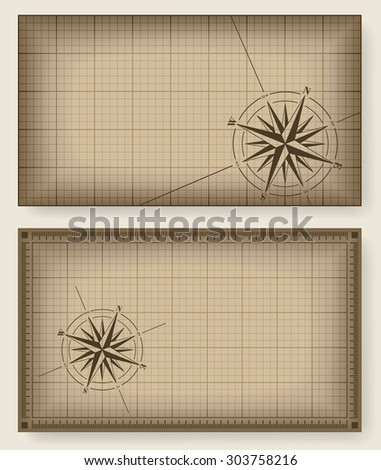 Set of brown vintage backgrounds with compass rose. Vector illustration.  - stock vector