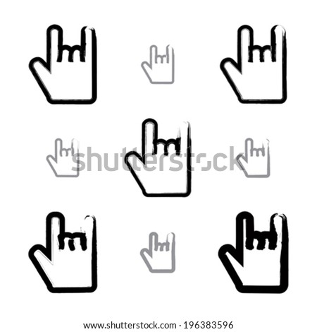 Set of brush drawing simple vector rock on icons, hand-painted rocker symbols isolated on white background. Collection of rock hand gestures created with real hand-drawn ink brush.