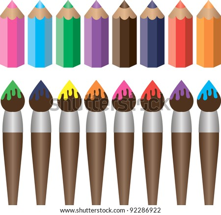 Set of brushes and pencils for drawing and art - stock vector