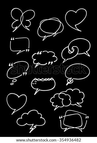 Set of bubble speech. Vector doodle hand drawn. - stock vector
