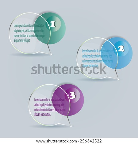 Set of bubbles, stickers, labels, tags. Vector template for infographics. Vector illustration. - stock vector