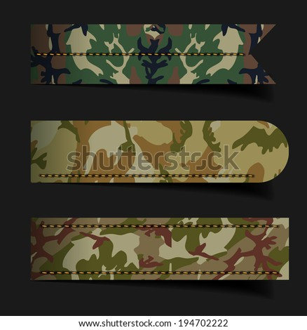 Set of bubbles, stickers, labels, tags, With camouflage fabric pattern shape vector illustration template design - stock vector
