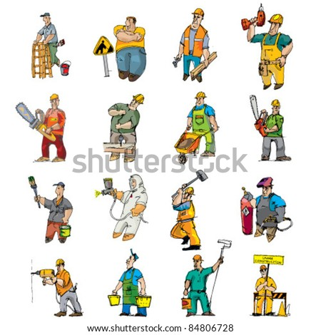 set of builders - stock vector