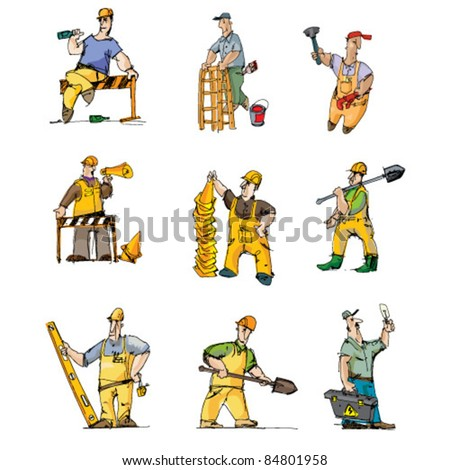 set of builders - cartoon - stock vector