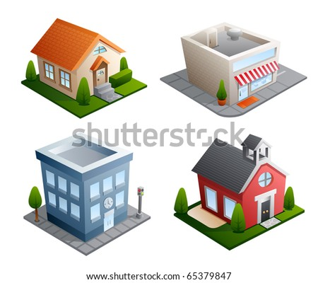 Set of 4 building illustrations - House, Store, Office, School - stock vector