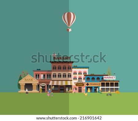Set of buildings in the style of small business flat design. Roads and city against the sky and snow-capped mountains. Architecture of a small town market, salon, pharmacy, bakery, bank, coffee shop. - stock vector