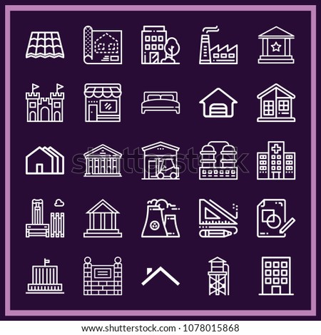 Set 25 buildings outline icons such stock vector 1078015868 set of 25 buildings outline icons such as house building houses house roof malvernweather Images