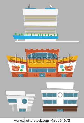 Set of buildings: supermarket, hospital, office. Vector isolated objects