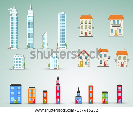 Set of buildings. Vector - stock vector