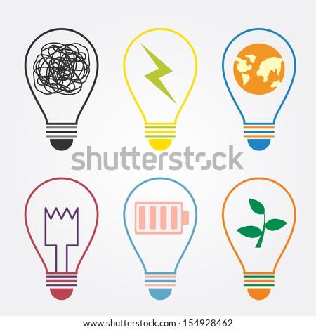set of bulb idea - stock vector