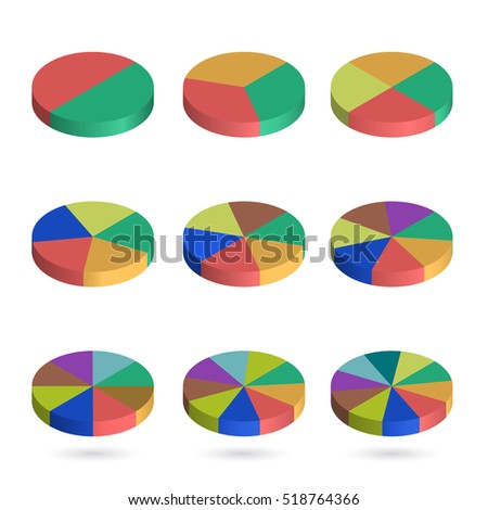 Set of bulk isometric pie charts. Templates realistic three-dimensional pie charts. Business data, colorful elements for infographics. Vector